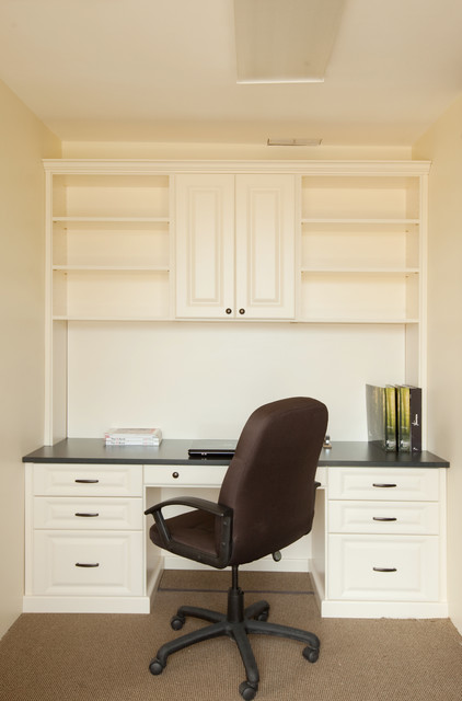Antique white desk and office space traditional home office new york by custom closets - Antique white office desk ...