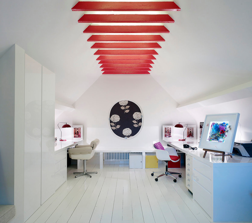 Study room - contemporary built-in desk painted wood floor and white floor study room idea in London with white walls and no fireplace