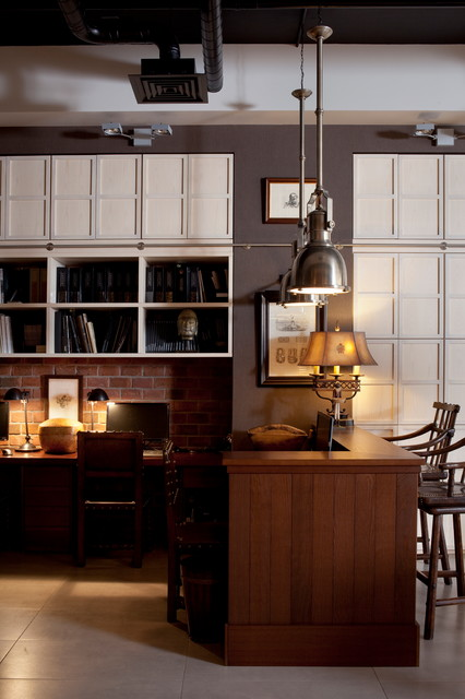Inspiration for an industrial home office remodel in Moscow