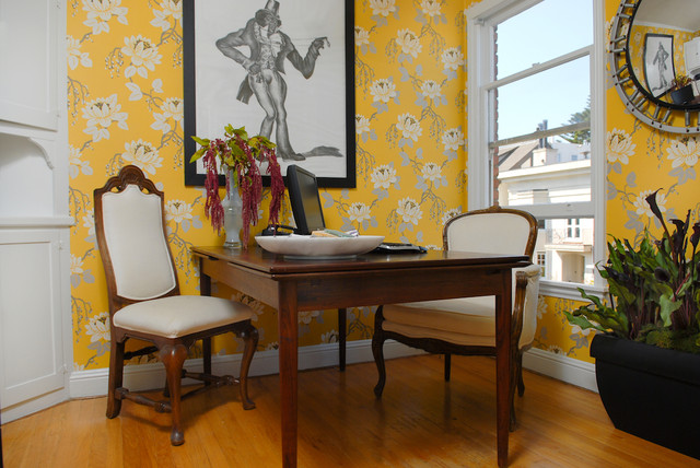 Home office - eclectic home office idea in San Francisco with yellow walls
