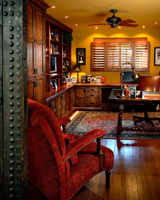 Arizona country club phoenix rustic home office phoenix by linda seeger interior design for Interior decorators phoenix az