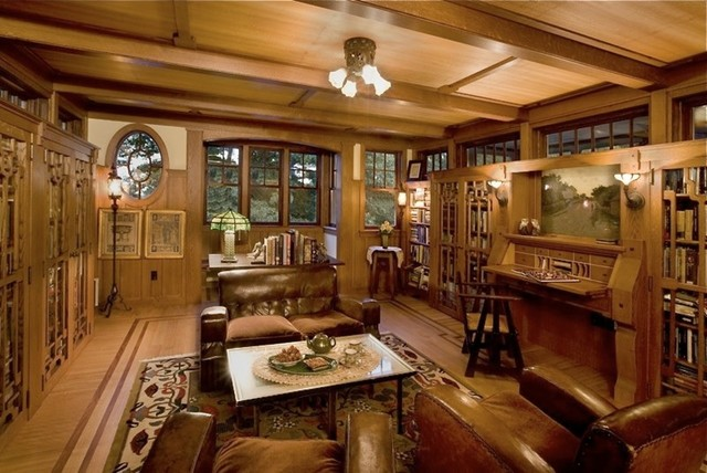 Arts crafts style library traditional home office for Craftsman style office
