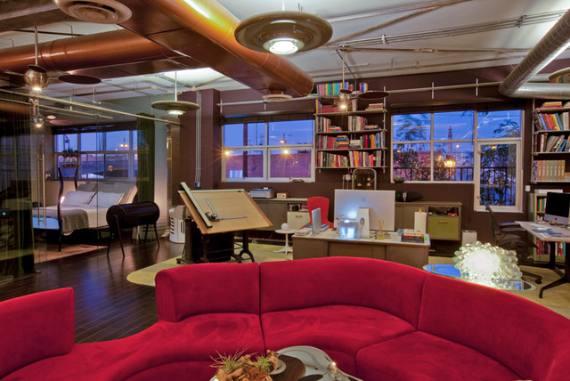 arts district loft modern home office los angeles metropolis construction site in the southpark district of