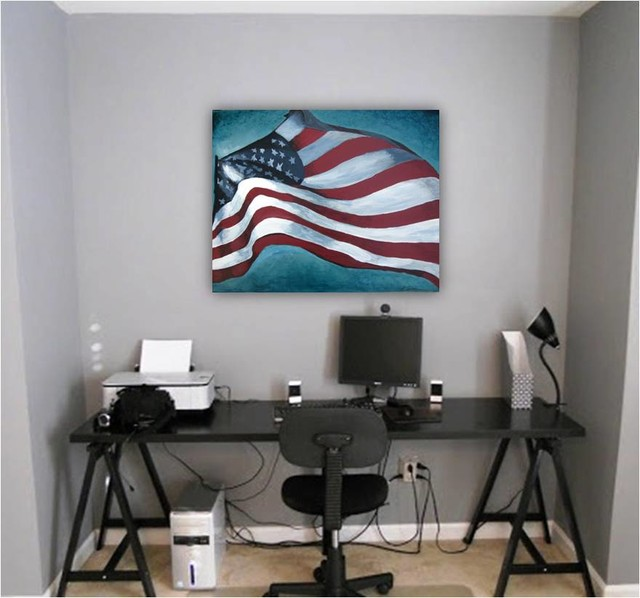home office artwork. Artwork Home Office Modern Contemporary Space Red Accent On Gray Walls Modern-home-office