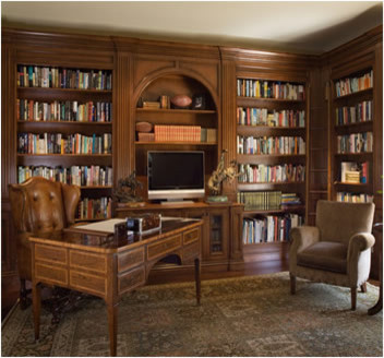 Atherton library Traditional home library design ideas