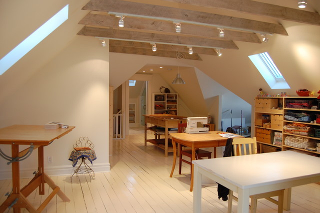Attic Renovations Traditional Home Office Library