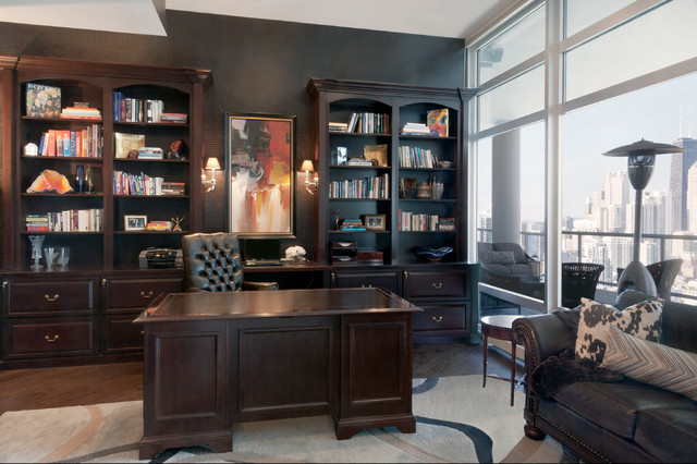 Award winning penthouse traditional home office for Award winning office interiors