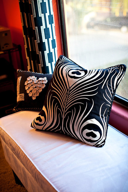B&W graphic pillows in coral office eclectic-home-office