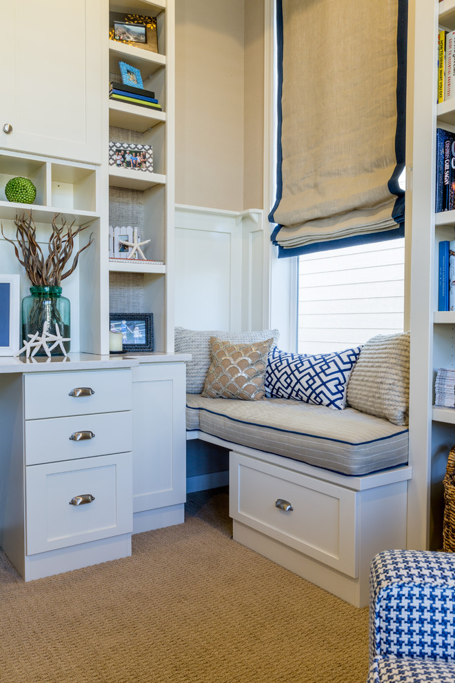 Example of a small beach style carpeted home office design in Denver with beige walls and no fireplace