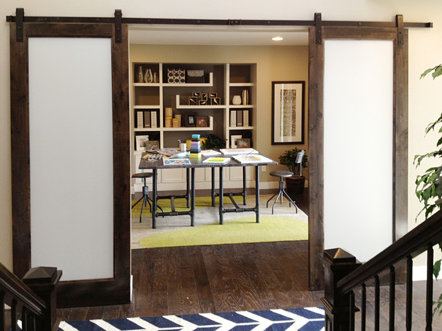 Pocket barn doors midcentury home office other for Barn doors for home office