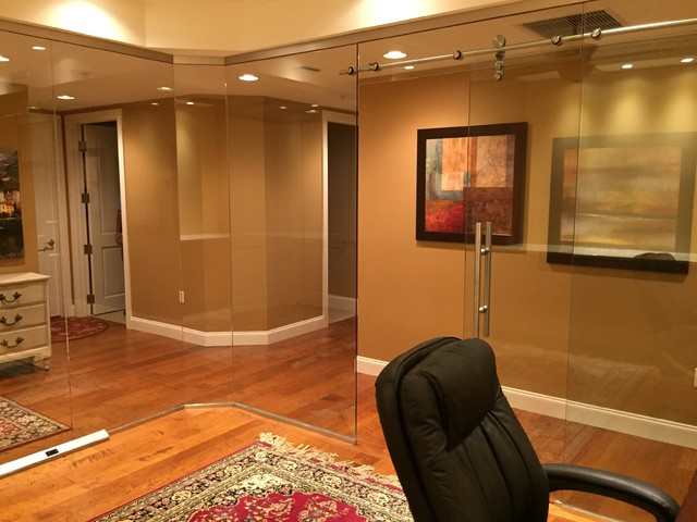 Barn Style Glass Doors Transitional Home Office