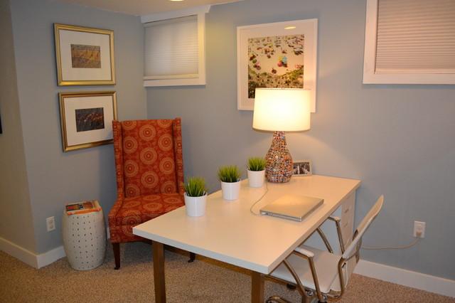 basement office contemporary home office denver by. Black Bedroom Furniture Sets. Home Design Ideas