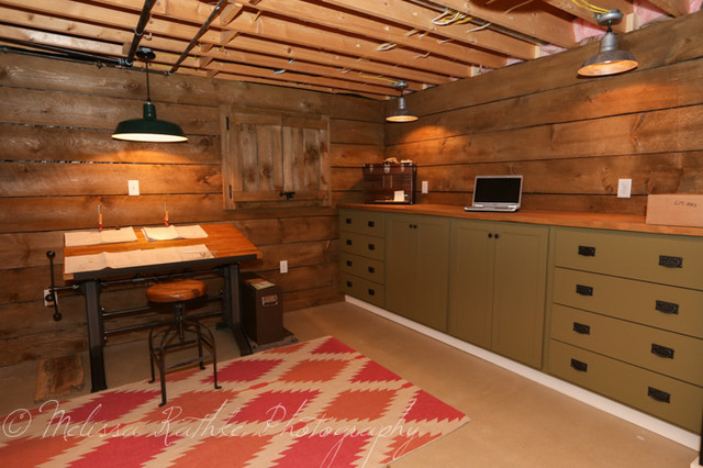 basement renovation industrial home office new york by