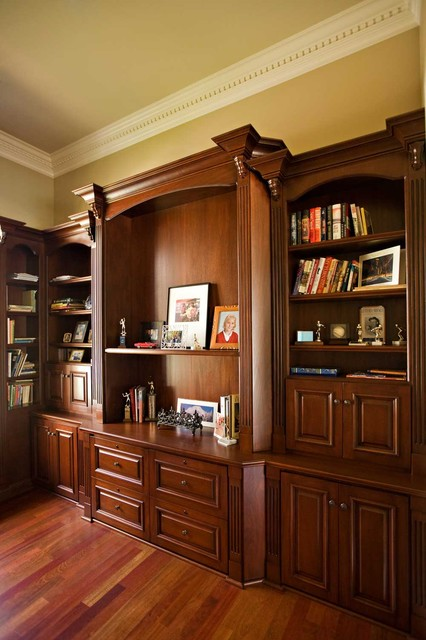 Bay area executive home office design with mahogany custom for Home office cabinet design ideas
