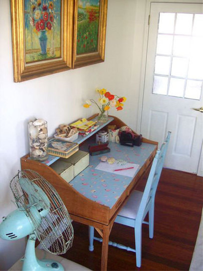 eclectic home office beach vintage
