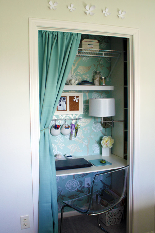 traditional home office How To Use an Unused Closet
