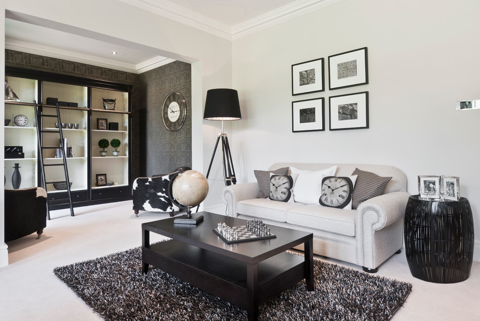 Trendy home office photo in Berkshire with white walls