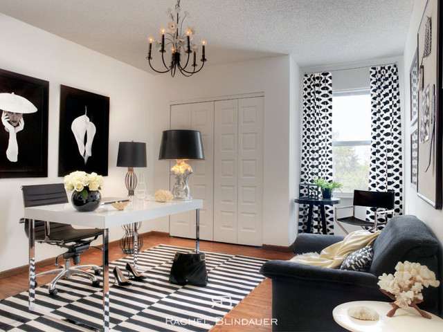 Black White Office Eclectic Home Office San