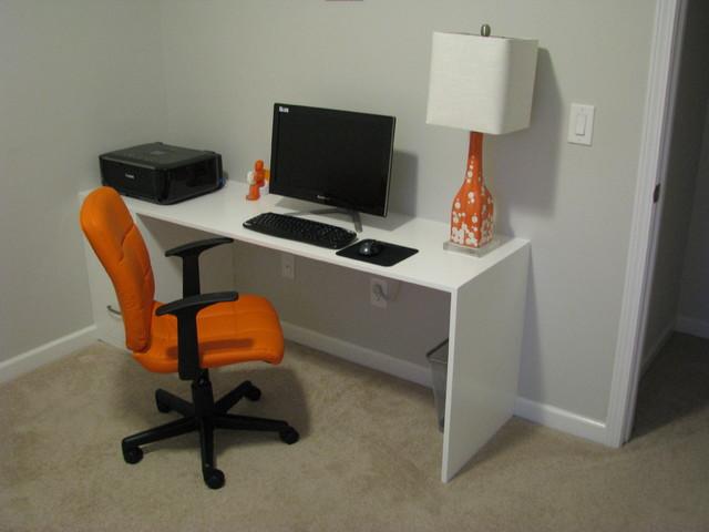 custom built in computer desk with 2 pull out drawers painted high