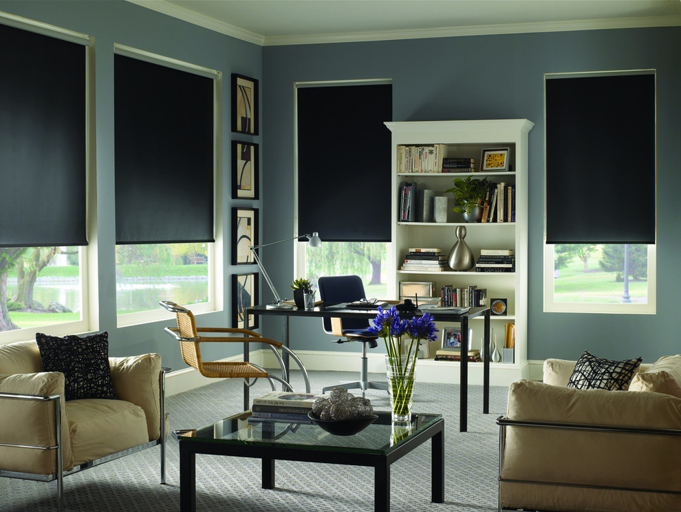 Home office - contemporary home office idea in Houston