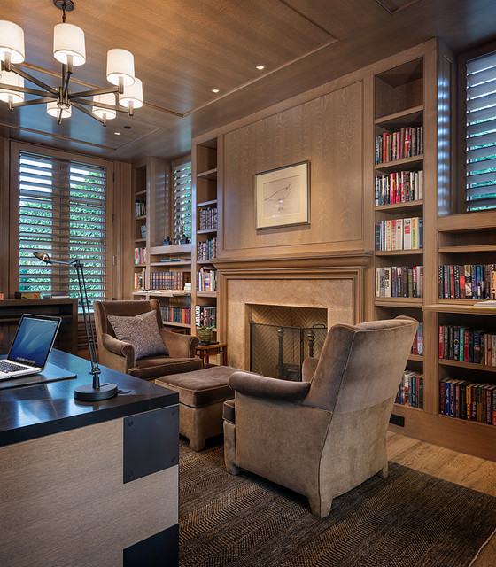 Blue Atlas Transitional Home Office Seattle By Stephen Sullivan Designs