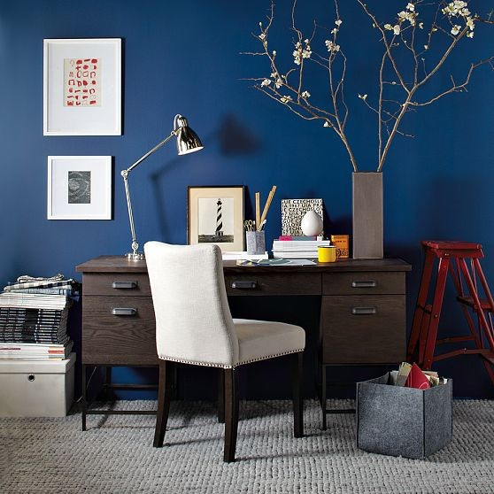 Blue office eclectic home office
