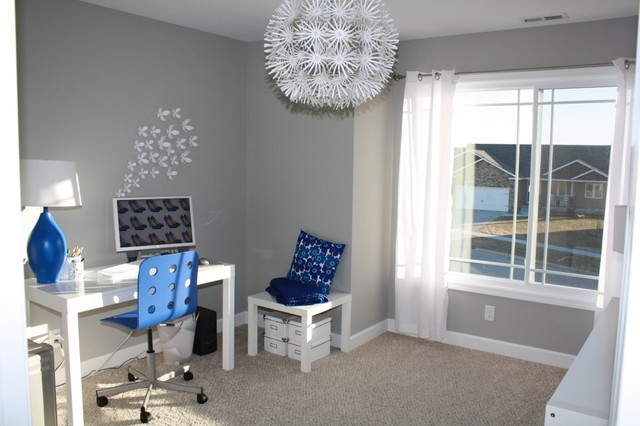 blue white home office Modern Home Office Library Other