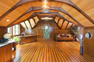 Boat Themed Office with Custom Carved King Neptune Door - Traditional - Home Office - Charleston ...