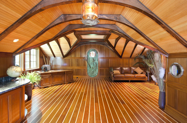 Boat Themed Office with Custom Carved King Neptune Door traditional-home-office & Boat Themed Office with Custom Carved King Neptune Door ...