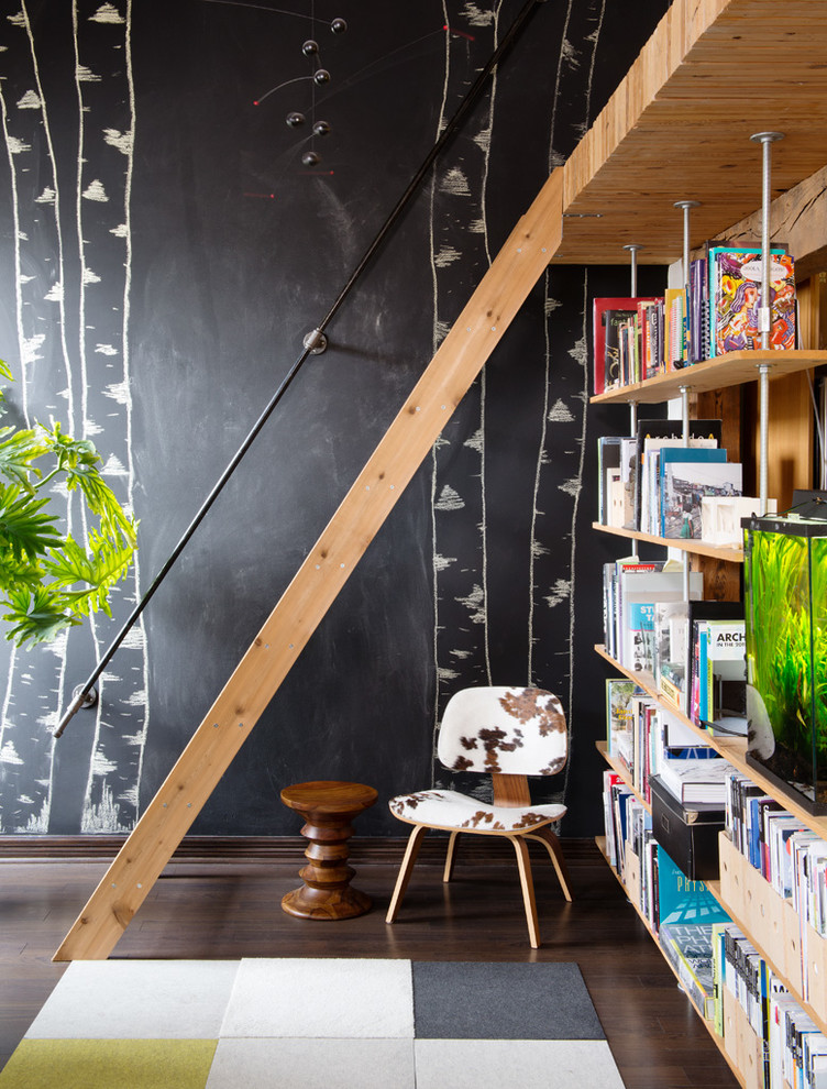 Inspiration for an industrial dark wood floor and brown floor home office remodel in Toronto