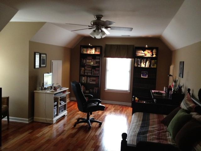 Bonus room office craft room traditional home office for Room over garage design ideas