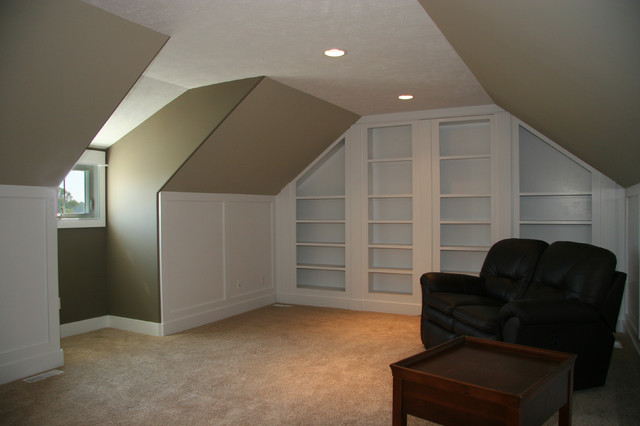 Bonus room with built ins traditional home office for Garage built ins