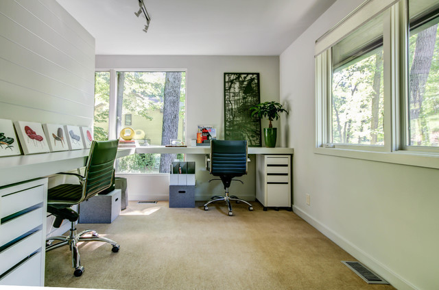 brady bunch house midcentury home office
