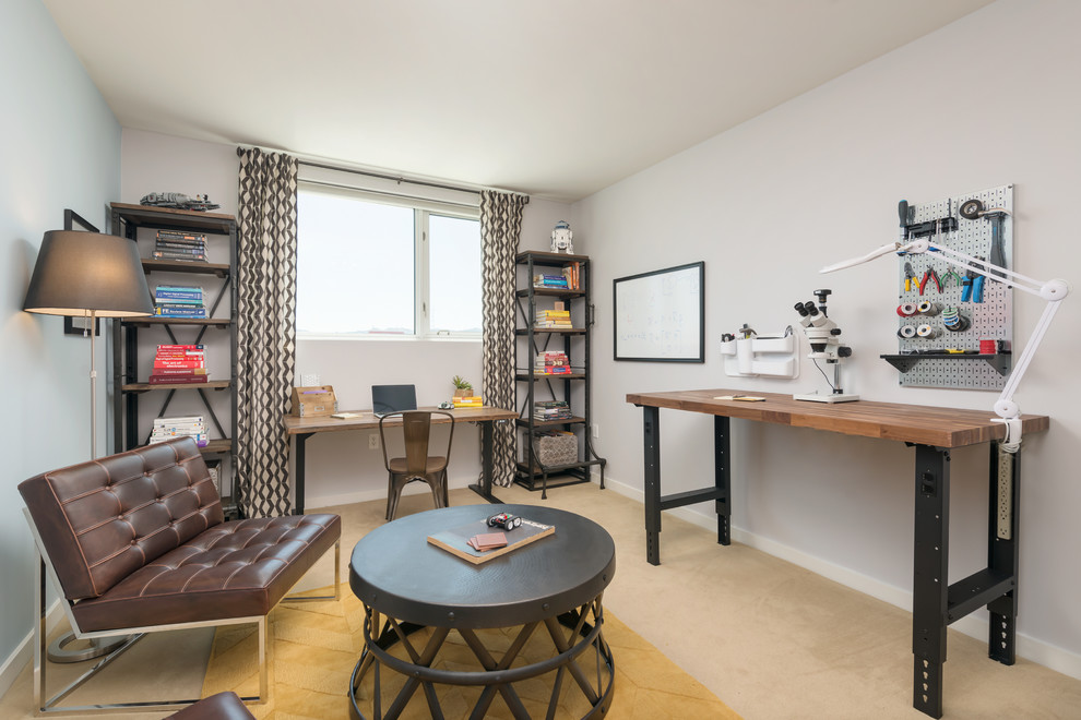 Inspiration for a mid-sized transitional freestanding desk carpeted craft room remodel in San Francisco with gray walls and no fireplace