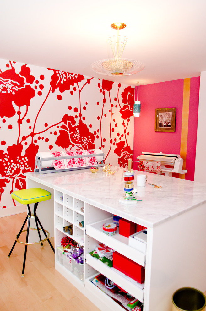 Inspiration for a contemporary craft room remodel in Louisville