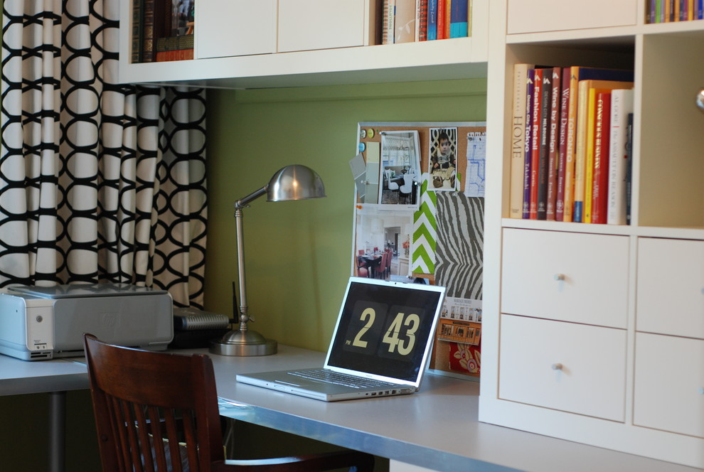 Home office - contemporary home office idea in Toronto with green walls