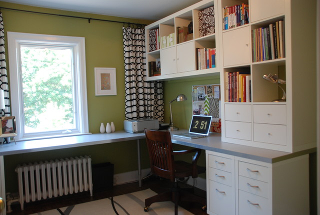 Bright Green Office transitional-home-office