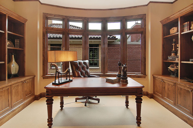 Broad Bow Window &  Built-in Bookcase Cabinetry contemporary-home-office