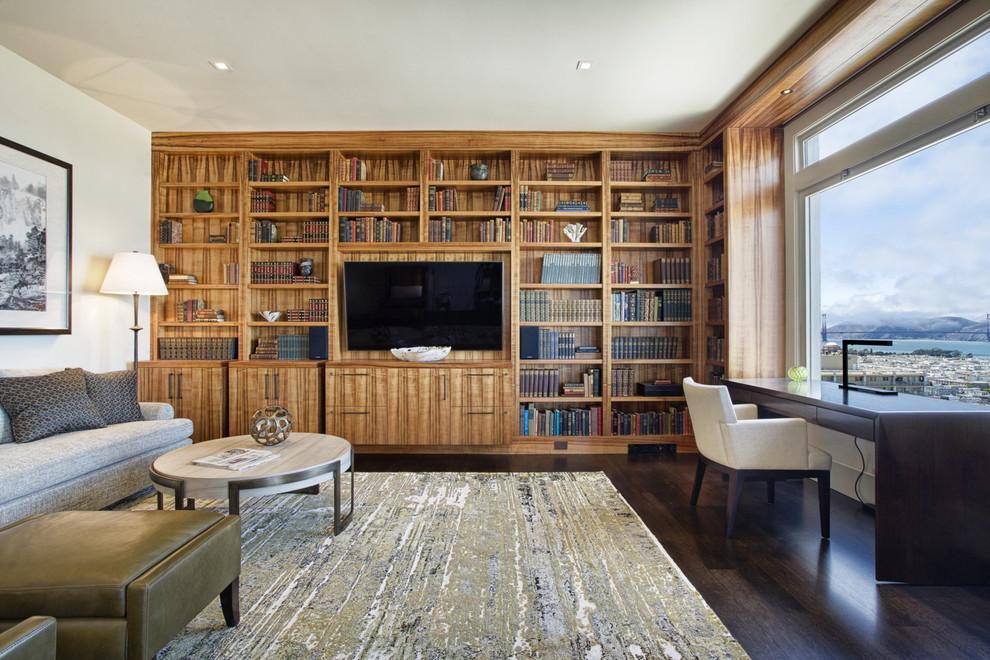 Trendy freestanding desk dark wood floor study room photo in San Francisco with white walls