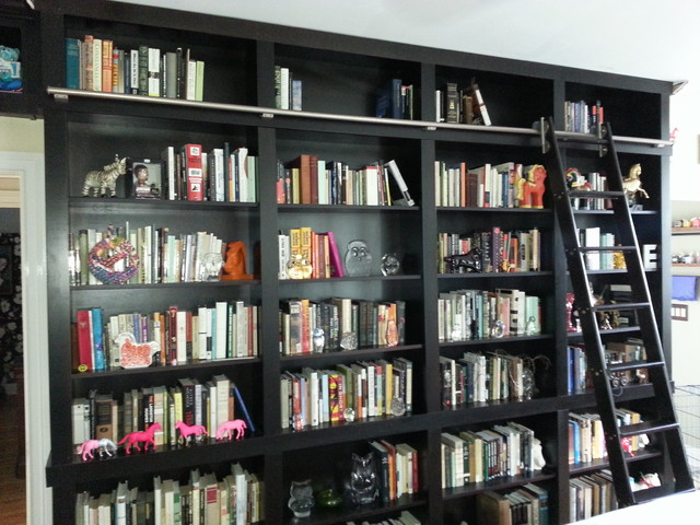 Built-in Bookcases with Rolling Ladder and Hidden Vault - Contemporary - Home Office - tampa ...