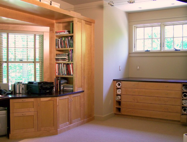 Built in desk and bookcases contemporary home office boston by g b woodworking - Contemporary built in bookshelves ...