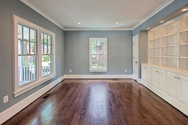 Built-ins in living room contemporary-home-office