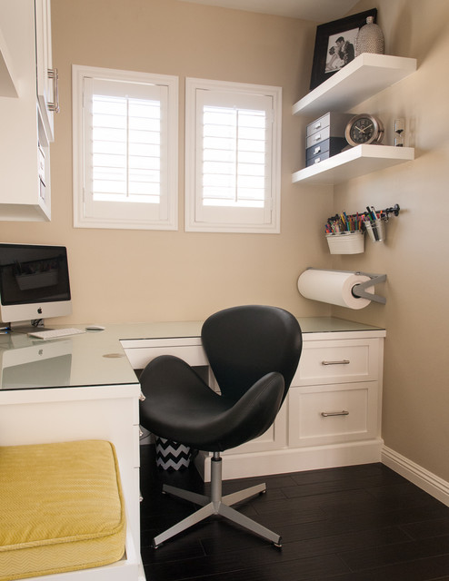 Home office - transitional built-in desk home office idea in Orange County