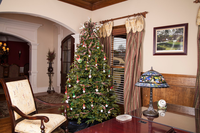 Canadian Fir Christmas Tree In Golf Themed Office Traditional Home Office  And
