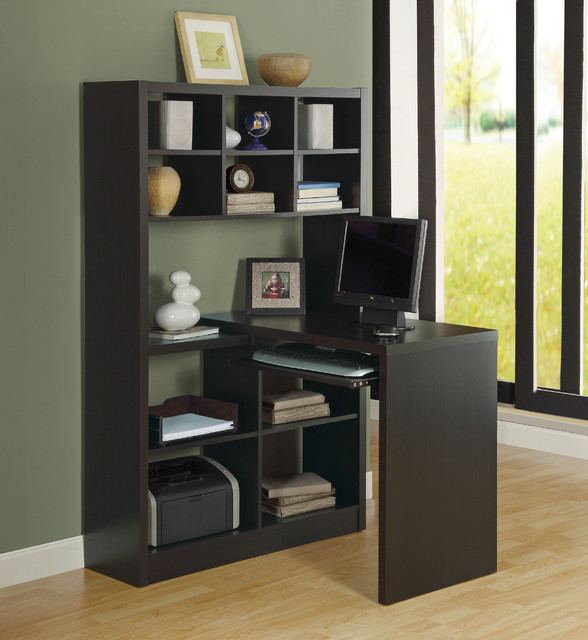 Etonnant Cappuccino Hollow Core Left Or Right Facing Corner Desk Contemporary Home  Office