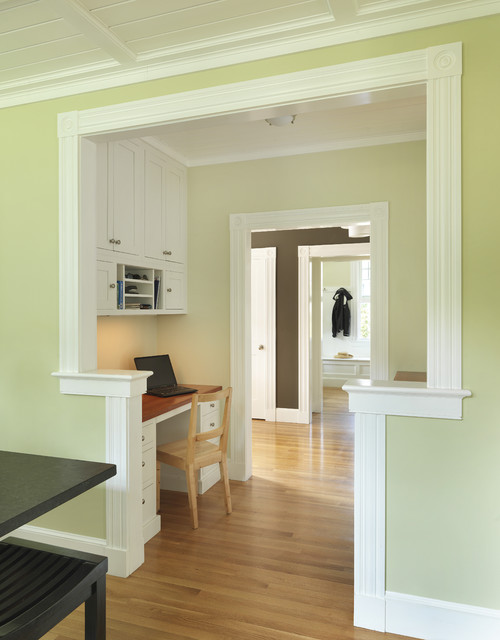 Arts and crafts built-in desk home office photo in Providence