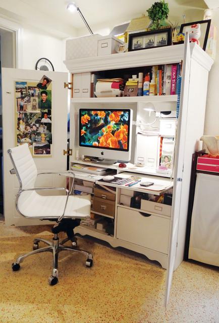 Carlita eclectic home office miami - Bureau dans armoire ...