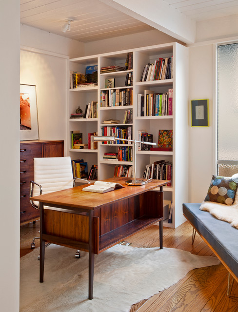 Carmel Mid Century Leed Midcentury Home Office Library