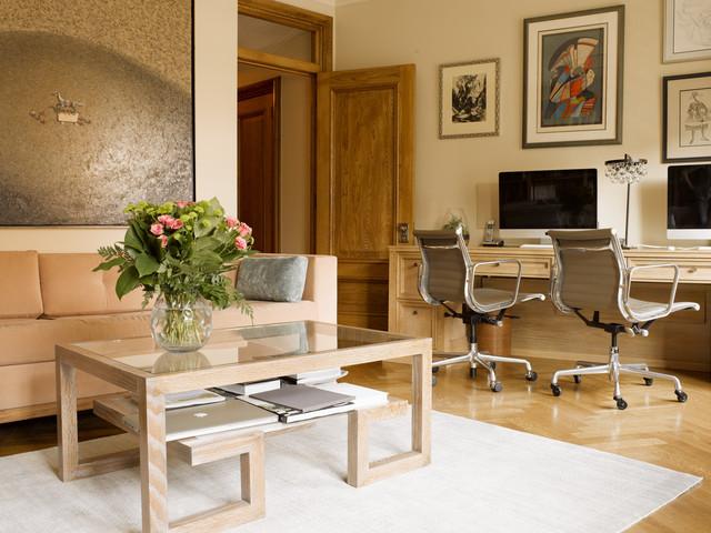 Mid Sized Transitional Built In Desk Medium Tone Wood Floor And Beige Floor  Study Part 62