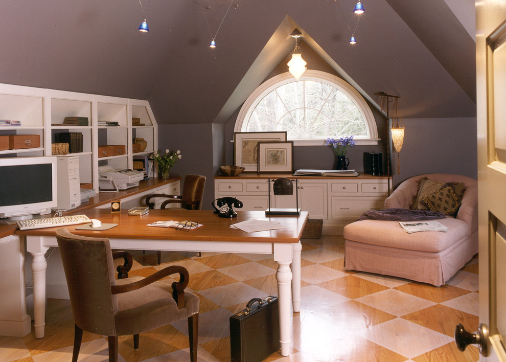Example of a classic multicolored floor home office design in Boston